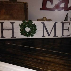 NEW Beautiful Rustic Home Sign with Boxwood Wreath